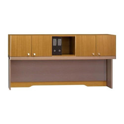 Bush Business - Modern Cherry Toned Office Storage Hutch w Ta - Office desk in need of an upgrade?  Search no further with this modern cherry toned hutch equipped with an open shelf, and four doors styled with silver knobs on each door.  A  fabric tackboard conveniently stretches across the hutch. * Mounts on 72 in. Desks, 72 in. Credenzas, 47 in. Corner Desks with 30 in. Return or 30 in. Storage File, or 2 adjacent lateral files. Accepts up to two Light Packs (not included). Includes fabric tackboard. Includes time-saving, Install-Ready features (hutches are partially assembled). 71.260 in. W x 15.236 in. D x 37.008 in. H