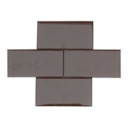 """Chocolate Brown Color Glossy Glass Tile 3""""x6"""" - Chocolate Brown Color. Glossy Glass Tile 3""""x6"""". Price is per square foot."""
