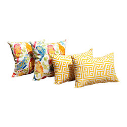 Land of Pillows - Richloom Ash Hill Garden and Towers Yellow Outdoor Throw Pillows - Set of 4 - Fabric Designer - Richloom Solarium