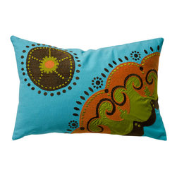 Koko - Koko Coptic Rectangular Orbit Throw Pillow - Wheels of Fortune PillowLuck can change swiftly, but this accent pillow will keep your style on top. The bright turquoise background of this throw pillow pops against chocolate, lime, and rust for textured allure. Prop it on your sofa or armchair for a bit o' whimsy - your space has that unique atmosphere that everyone will want to copy. Eclectic, charming, colorful - the perfect mix of color and crafting for artistic freedom in the living room.Colorful 100 percent cotton pillow coverRemovable poly pillow insert includedEmbroidered patterns with appliqueBack center opening with tie closureMachine-washableMade in India