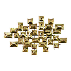 Chic Geometric Brass Sculpture - This is a fabulous wall sculpture done in faceted shiny brass pieces. Imagine it over a fireplace or on that wall you couldn't think of what to put on — because now you have an answer. It speaks midcentury modern and then some.