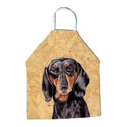 "Caroline's Treasures - Dachshund Apron SC9139APRON - Apron, Bib Style, 27""H x 31""W; 100% Ultra Spun Poly, White, braided nylon tie straps, sewn cloth neckband. These bib style aprons are not just for cooking - they are also great for cleaning, gardening, art projects, and other activities, too!"