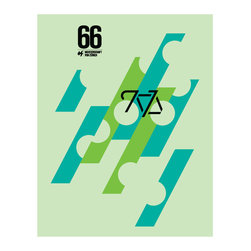 Hybrid-Home - Limited Edition Giro di Zurich Print - Cool tones borrowed from the sea and sky bring tranquility to your home. Created with puzzle-like graphics by renowned artist Caleb Kozlowksi, this work of art commemorates Meisterschaft von Zürich, a Swiss cycling event.