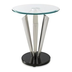L. Powell Acquisition Corp. - Tripod Metal and Glass Table - The Tripod metal and glass table is a unique addition to any space. The sturdy round black bottom holds up a spacious round glass tabletop.