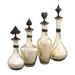 iMax - Lydell Bottles with Stoppers, Set of 4 - Great style is all in the cards: A quartet of seeded glass bottles with spade, heart, club and diamond-shaped stoppers is sure to suit.