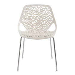 "Eurostyle - Lovie Side Chairs, White, Set of 2 - There will be a buzz swirling in your space about the exciting swirl design featured in this visually arresting chair. You'll hear the ""ooh's and wow's,"" then witness the admiration bestowed by mesmerized guests."