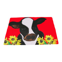 xmarc - Animal Area Rugs, Cow And Sunflowers - Cow and sunflowers farm animal area rugs, art appears on the top side, which is made of a soft plush polyester fabric. Bottom is made of durable white rubber mat with rounded and sewn corners.