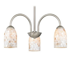 Design Classics Lighting - Chandelier with Mosaic Glass in Satin Nickel Finish - 592-09 GL1026D - Mosaic glass satin nickel 3-light chandelier light with dome glass shades. Takes (3) 100-watt incandescent A19 bulb(s). Bulb(s) sold separately. UL listed. Dry location rated.