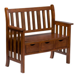 "SEI - Drawer Oak Country Bench - Keep it simple and clutter free with this adorable country bench. This oak bench provides not only a place to sit and relax, but also three convenient drawers that measure 10.5"" long, 7.5"" wide, and 3.5"" deep allowing you to stash away anything from hats and gloves, to your dog's leash and toys. The simplistic design of this bench is achieved from the traditional vertical slat back and sides. This three-drawer bench adds storage and creates the perfect entryway accent with its style and functionality."