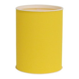 Lamont Home - Brights Round Wastebasket Daffodil - Made from high quality PVC/Polyester fabric, these traditional styles have been updated in a wide range of patterns to match any decor. A vinyl lid with metal grommet completes the look for the hamper. A very durable product that adds style to any laundry room.