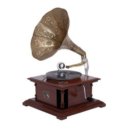 Benzara - Wood Metal Gramophone An Excellent Home Decor - Wood Metal Gramophone is the excellent home decor and table space filler for matching the passion for music with passion of unique decor.