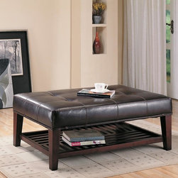 Coaster - Brown Casual Ottoman - Brown leather-like vinyl ottoman with tufted accents and additional storage underneath.