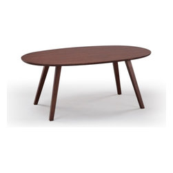 Greenington - Greenington Currant Oval Coffee Table in Classic Bamboo Dark Walnut - Inspired by Danish Mid-Century Modern style, the Currant Oval Coffee Table presents simple lines and warm wood tones. The generous surface of the oval top reveals the grain of the bamboo, while the four minimal angular legs keep the visual feel of the table light. This environmentally friendly coffee table, created from Greenington's Classic Moso Bamboo, is available in two finishes.  Greenington furniture is made out of 100% Moso Bamboo without added fillers, fiberboard, MDF or other materials. Bamboo is a fast growing, fully sustainable, environmentally friendly and renewable resource. Out of the 1200 species of bamboo, Moso is the best species for furniture production due to its hardness, durability, and stability, and it is not a food source for Pandas. Periodic cleaning can be done using a soft cloth and a gentle cleaner designed for wood furniture. - G0040.  Product features: Belongs to Currant Dining Collection by Greenington ; Classic Bamboo ; Available in Rich Honey-Toned Caramel or Dark Walnut Finishes ; Oval Shape; Contemporary Style ; Eco Friendly; Greenington bamboo furniture is made of 100% bamboo with no added filler, fiberboard, MDF or other materials.; Greenington furniture uses only mature Moso bamboo that is at least 5 years old ensuring that that our furniture possesses strength, hardness and stability. Our Classic bamboo is 20% harder than Oak.. Product includes: Coffee Table (1). Greenington Currant Oval Coffee Table in Classic Bamboo.