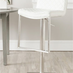 Safavieh - Safavieh Claudio White 24-33.4-inch Adjustable Bar Stool - Elegant diamond quilted white leather upholstery distinguishes the contemporary Claudio barstool.