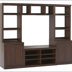 "Logan Open Hutch Small Media Suite with Bridge, Mahogany stain - Our versatile Logan Full Media Suite with Bridge has multiple components that allow you to customize your storage and display space. To create a configuration ideal for your space, {{link path='/shop/furniture-upholstery/tools-furn/logan-media-furniture/'}}click here{{/link}} to view our Build Your Logan Media System Tool. Small includes one Small TV Stand, two 24"" Bases with Doors, two 24"" Hutches with Open Shelving, and one Small Bridge. Medium includes Large TV Stand, two 24"" Bases with Doors, two 24"" Hutches with Open Shelving and one Large Bridge. Large includes Large TV Stand, two 36"" Bases with Doors, two 36"" Hutches with Open Shelving and one Large Bridge. Expertly crafted from solid kiln-dried hardwood with birch veneers. Outfitted with cord cutouts for wire management. Wood swatches, below, are available for $25 each. We will provide a merchandise refund for wood swatches if they're returned within 30 days. Catalog / Internet Only. View our {{link path='pages/popups/fb-media.html' class='popup' width='480' height='300'}}Furniture Brochure{{/link}}."