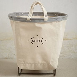 "Anthropologie - Canvas Carry Basket - By Steele Canvas Basket Co.Cotton canvas, steel, plasticWipe with damp cloth18""H, 18"" diameterUSA"