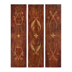 Uttermost - Uttermost 32160 Elegant Panels - Set of Three Decorative Artwork Hand Painted - Crackled canvas on hardback with an antique glaze.