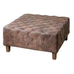 Uttermost - Uttermost 23147  Wetherly Quilted Ottoman - The time-worn feel of softened leather, captured in velvety polyester fabric, stitched and tucked into quilted comfort. wooden frame features weathered walnut legs.