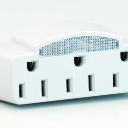 Satco - Satco 91-227 Single to Triple Outlet Adapter - 3 Outlet Plug In Tap LED Night Light