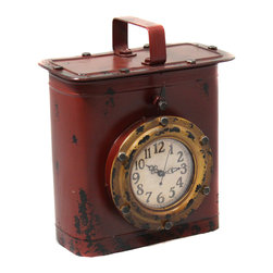 ecWorld - Antique Style Weathered Tin Can Porthole Clock with Hidden Storage - Rust - This unique antique finish tin can porthole tabletop clock is a great addition to your decor. Featuring quartz movement and doubles as a hidden storage box.