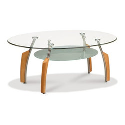 Global Furniture - 2 Piece Oval Glass Coffee Table Set w/ Silver & Beech Legs - - Tempered glass top