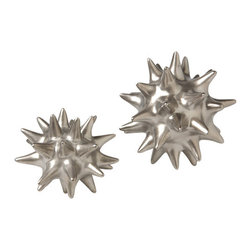 Zhush - Matte Silver Urchin, Small - This adorable silver sea urchin will add a touch of the sea to any room.