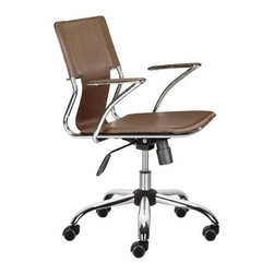 "Zuo Modern - Height Adjustable Leatherette Office Chair in - These Two Adjustable Office Chairs with Brown PVC Seats & Rolling Bases display dynamic contemporary styling and offer exceptional comfort and support!  Attractive, washable PVC seating surfaces in rich Brown are complemented by chrome plated steel frames & rolling bases.  This contemporary styled Adjustable Brown Upholstered Contemporary Office Chair Pair offers office managers an exceptional value when furnishing any modern office!  Each solidly constructed chair features a chromed steel frame and rolling base matched with rich Brown PVC seating surfaces. * Adjustable Height. Chrome Plated Steel Frame, Base, and Arms. Washable PVC Leatherette Seat and Back. PU Rolling Casters . Does not tilt. 34-39"" H x 22"" W x 25"" L. Seat: 18-23"" H"