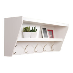 Prepac - Prepac Floating Entryway Shelf and Coat Rack in White - Prepac - Coat Racks - WUCW05001 - Outfit your foyer with a smart and stylish storage solution ready for anything your family can throw at it. This modern shelf features 5 solid metal hooks that provide a perfect perch for coats hats and other entryway essentials. Open design shelves provide a handy spot to drop your keys purse wallet or to display decorative items. This product ships Ready To Assemble and includes an easy to follow instruction booklet. Our innovative hanging rail system includes all mounting hardware which makes installing at any height a breeze. Proudly manufactured in Canada using composite woods and finished with durable laminates.