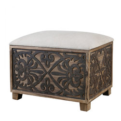 Uttermost - Uttermost Abelardo Cushioned Small Bench - Abelardo Cushioned Small Bench by Uttermost Cushioned Bench Has Neutral Linen Seat On Lightly Stained Fir Wood With Rustic, Black Gate Panel Sides.