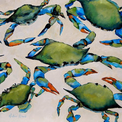 Roweboat Art Inc - Blue Crabs, Fine Art Reproduction Print, 40X30 - Original art reproduction