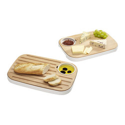 Joseph Joseph - Slice & Serve - Bread & Cheese Board - This versatile product performs several functions and makes a great food presentation piece for any table. It comprises a high-quality beech board that sits inside a smart melamine tray with removable condiment dish.