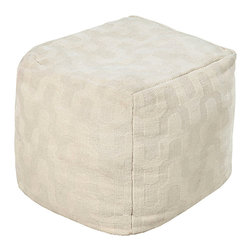 Wool Ivory Pouf - Sleek and sophisticated in tone-on-tone ivory, the Wool Ivory Pouf is superb as a slightly-softer accessory for a room with many geometric details - or a structured point in a space of looser forms. Add refinement as well as comfort to your room by selecting this soft cube to serve as a footstool or press it into service as an extra seat during the holidays.