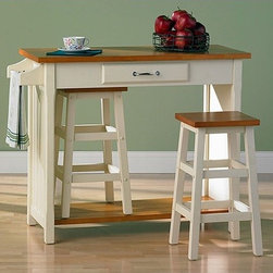 """Wildon Home � - Lisle 3 Piece Dining Set - This lovable little breakfast set is quite charming and is just as useful for an afternoon snack as for your morning meal. It is very useful with a countertop, storage drawer, a towel rack, and enough room underneath to store the two included stools. Features: -Medium density fiberboard w/ birch veneer.-Set includes Island & 2 Stools.-Two-tone finish.-Distressed: No.-Top Finish: Honey pine.-Base Finish: Antique white.-Chair Finish: Honey pine & antique white two tone.-Powder Coated Finish: No.-Gloss Finish: No.-Solid Wood Construction: No.-Reclaimed Wood: No.-Number of Items Included: Includes 3 items: Island and two barstools.-Scratch Resistant: No.-Rust Resistant: No.-Leaf Included: No.-Seating Capacity: 2.-Wine Storage: No.-Shelving: No.-Drawers: Yes -Number of Drawers: 1.-Drawer Interior Finish: Antique white.-Drawer Handle Design: Pull..-Stemware Holder: No.-Upholstered Side Chair: No.-Storage Compartment: Stools neatly store beneath table.-Lighted: No.-Outdoor Use: No.-Swatch Available: No.-Commercial Use: No.-Recycled Content: No.-Eco-Friendly: No.-Product Care: Wipe clean with general household wood cleaner.Specifications: -ISTA 3A Certified: No.-General Conformity Certified: No.Dimensions: -Table: -Overall Table Height - Top to Bottom: 34"""".-Overall Table Width - Side to Side: 41.5"""".-Overall Table Depth - Front to Back: 19"""".-Table Drawer Height - Top to Bottom: 2"""".-Table Drawer Width - Side to Side: 14.5"""".-Table Drawer Depth - Front to Back: 12.75"""".-Overall Table Weight: 70 lbs..-Side Chair: -Overall Side Chair Height - Top to Bottom: 24"""".-Overall Side Chair Width - Side to Side: 13.5"""".-Overall Side Chair Depth - Front to Back: 13.5"""".-Side Chair Seat Height: 24""""..Assembly: -Assembly Required.-Assembly Required: Yes."""