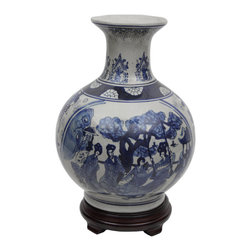"Oriental Furniture - 12"" Ladies Blue & White Porcelain Vase - Lovely Ming design flower vase crafted from durable, high temperature hard white Chinese porcelain ceramic. Delightful east Asian court courtesan art motif. Ideal for display with traditional 18th and 19th century European antique style furnishings as well as modern American casual interiors."