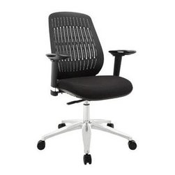 """LexMod - Reveal Premium Office Chair in Black - Reveal Premium Office Chair in Black - Turn your sights to a fun little office chair that packs a whole lot of punch. Reveal was named after the slitted-back design that lets in some light, while barring entry to the rest. But aside from the modernism inherent in the design itself, the array also results in a pattern that is comfortably flexible to lean against. Reveals molded foam seat also comes generously padded with a seat pan that encourages a vertical seating posture. The aluminum base comes equipped with five dual-wheeled hooded casters for easy gliding over carpeted surfaces, while the seat height easily adjusts using a pneumatic lever. To enhance the overall ergonomics of this piece, the armrests also adjust to align with the height of your upper body and pivot in and out. Set Includes: One - Reveal Office Chair Height adjustable armrests, Armrests pivot in and out, Flexible slitted plastic back, Molded padded foam seat, Pneumatic height adjustment, Five dual-caster wheels, Sturdy hooded aluminum base, Seat Weight - 35 lbs. / Chair Weight Capacity - 330 lbs. Overall Product Dimensions: 27""""L x 25""""W x 38 - 42""""H Armrest Dimensions: 1.5""""W x 8 - 11""""HBACKrest Height: 19""""H Seat Height: 19 - 23""""H - Mid Century Modern Furniture."""