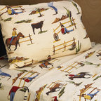 Sweet Jojo Designs - Sweet JoJo Designs 200 Thread Count Wild West Cowboy Sheet Set - These sheets use tan,brown,red and blue cowboy western print 100-percent cotton fabric. Made to coordinate with the matching Sweet JoJo bedding set,this sheet set is machine washable for easy care.