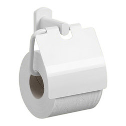 Gedy - Lacquered White Toilet Roll Holder With Cover - Contemporary style toilet roll holder with cover made of lacquered white brass.