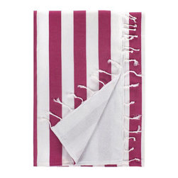 Grandin Road - Deck Beach Towel - Classic striped Turkish-style beach towel with fringe. Made from 100% Turkish cotton. Smooth side repels sand, reverses to ultra soft and absorbent terry cotton. Ends detailed with hand-knotted fringe. Machine wash cold, tumble dry low. Hit the pool deck in style with the classic, bold stripe pattern of our fringed beach towel. Each has a smooth, sand-repellant Turkish cotton side that reverses to a soft, absorbent terry cloth side. Hand-knotted fringe ties it all together, for a truly iconic look. Select your favorite colors and soon you'll be ready to catch some rays, or dry off after a cool swim, with an elegant beach accessory.. . . . . Imported.