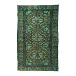 West of Hudson - Overdyed Vintage Turkish Mint Teal Rug, 3.58x5.58 Ft. - Handknotted one of a kind over-dyed rug with vibrant colors. West of Hudson is proud to offer authentic vintage and new hand knotted rugs that that are carefully selected for our exclusive overdye collection. Each rug is a unique work of art. 100% handmade from start to finish.