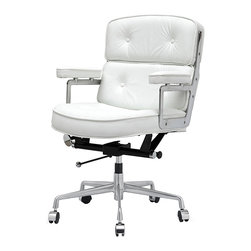 Meelano - M340 Eames Style Lobby Office Chair in White Italian Leather - Be the master of your universe today and forever in this regal, height adjustable executive's chair. Crafted with top grain leather, swivel around and around while you ponder your next merger, start-up or pay raise.