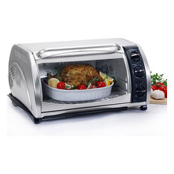 None - Stainless Steel Multifunction Toaster Oven - This stainless steel toaster oven has a large capacity that can accommodate a 12-inch pizza. An adjustable temperature control knob, 60-minute timer, and a built-in convection fan highlight this toaster oven.