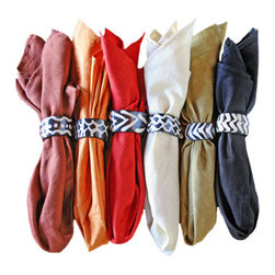 Set of 6 Malian Napkins - My goal for the new year is to replace all paper napkins with reusable and machine washable ones. I think these would be a good start. I love the color selection and the simplicity of these Malian napkins.
