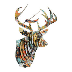 Cardboard Safari - Modern Art Print Bucky Jr - Medium Deer Trophy in Grid, Drip, Pop, Medium, Drip - Buck Jr. wandered into the MOMA and came out a deer of a different color. Three stunning art prints to choose from, these trophy heads bring vibrant modern art to your wall on an entirely unique canvas!