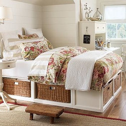 Stratton Bed with Baskets Bed & Extra-Wide Dresser Set, Full/Queen, Antique Whit - Our popular Stratton Bed with Baskets has a compact profile and generous storage options, making it ideal for small spaces. Pair it with the Stratton Extra-Wide Dresser for even more expansive storage and a coordinated look. Bed is expertly crafted with a solid hardwood platform, and includes six under-bed storage baskets or smooth-opening drawers. Dresser features a solid-wood frame, English dovetail joinery and bronze-finished iron pulls. Both pieces are finished by hand on all sides using an exclusive technique that results in exceptional depth of color. Stratton Bed Brackets (set of 2 sold separately) are needed only if you are attaching a headboard to a Stratton bed. Wood swatches, below, are available for $25 each. We will provide a merchandise refund for wood swatches if they're returned within 30 days. View and compare with other collections at {{link path='pages/popups/bedroom_DOC.html' class='popup' width='720' height='800'}}Bedroom Furniture Facts{{/link}}. View our {{link path='pages/popups/fb-bedroom.html' class='popup' width='480' height='300'}}Furniture Brochure{{/link}}. Catalog / Internet Only.