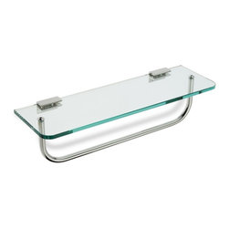 "StilHaus - Clear Glass Bathroom Shelf with Towel Bar - 16"" clear glass shelf with brass towel bar. 16 inch glass shelf with towel bar. Made of brass and clear glass. Brass rail has a polished chrome finish. From StilHaus Collection."