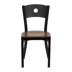Flash Furniture - Flash Furniture Hercules Series Circle Back Metal Chair in Cherry - Flash Furniture - Dining Chairs - XUDG60119CIRCHYWGG - Provide your customers with the ultimate dining experience by offering great food, service and attractive furnishings. This heavy duty commercial metal chair is ideal for restaurants, hotels, bars, lounges, and in the home. Whether you are setting up a new facility or in need of a upgrade this attractive chair will complement any environment. This metal chair is lightweight and will make it easy to move around. This easy to clean chair will complement any environment to fill the void in your decor. [XU-DG-60119-CIR-CHYW-GG]
