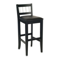 Home Styles - Home Styles Manhattan Black Pub Stool - Bring a piece of the city's pulse into any setting with the Manhattan pub stool. Constructed of solid wood in a striking black finish, this stool imparts a cosmopolitan feel with a black vinyl seat and stainless steel finished rungs on the seat back.