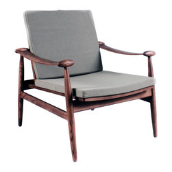 Stilnovo Midcentury  Redford Lounge Chair, Grey - The frame of the Redford lounge chair is made from solid ash hardwood with a deep Walnut stain. Though the frame has slender, curving arms, these finish off at both ends in elliptical grips. The padded seat and back are upholstered in wool-nylon blend fabric.