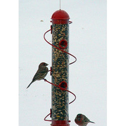 Songbird Essentials - 17 Inch Red Spiral Sunflower Feeder - 17.5 in. Red Mixed Seed spiral feeder. Consumers and birds love patented songbird essentials bird quest spiral feeders. More ports means more birds. Birds love to run the spiral instead of flying to another perch. Spiral allows cardinals, grosbeaks and other.