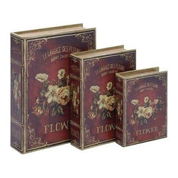 """Benzara - Book Box in Flaunts Delicate Floral Patterns - Set of 3 - Book Box in Flaunts Delicate Floral Patterns - Set of 3. Elegantly designed, this wood Book Box makes for a charming decor accent and is designed with great finesse for an attractive appeal. It comes with a following dimensions 11""""W x 3""""D 15""""H. 9""""W x 2 1/2""""D x 12""""H. 7""""W x 2""""D x 9""""H."""